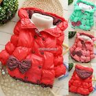 Kids Girls Winter Bowknot Hoodies Coat Jacket Down Warm Outerwear 3 Colors N98B