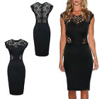 Hot European Style Lady Cocktail Black Hollow Out Women Lace Dress Party K