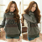 Warm Stylish Girls Hooded Letters Simple Buckle Decorated Winter Top Hoodie 4957