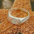 STERLING SILVER  RING WITH RHOMBUS CASED STONES SOLID.925 JEWELERY  SIZE J - U