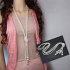 Hot Trendy Women Lady White Artificial Pearls Long Sweater Chain Charms Necklace