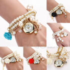 Fashion Women Faux Pearl Rose Bracelet Wrist Analog Quartz Round Dial Watch