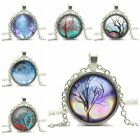Handmade Pretty Vintage Life tree Glass Cabochon Silver Chain Pendant Necklace