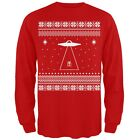 Alien Beam Ugly Christmas Sweater Red Adult Mens Long Sleeve T-Shirt