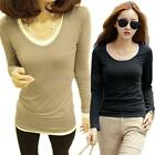 Womens Lady's Long Sleeve Bottoming Shirt Crew Neck Tops Blouse Casual T-shirt
