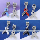 5x Enamel Awareness Survivor Ribbon European Charms Beads Fit Bracelet Findings