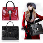 Ladies Womens Faux Leather Crocodile Tote Handbag Red Red UK Seller DL46
