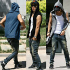 Mens Casual Slim Hoodie Jacket Top Sleeveless Beach Sport T-shirt Vest youthful