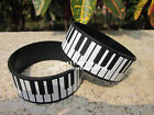 "Piano Keyboard Music Silicone 1"" Wide Black Wristband Bracelet 50pcs/lot"