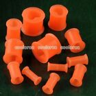 Pick Gauge Heart Orange Flared Flexible Silicone Ear Tunnel Plugs Stretcher