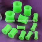 Pick Gauge Heart Green Flared Flexible Silicone Ear Tunnel Plugs Stretcher