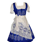 DIRNDL German Dress Trachten Oktoberfest 3pc LONG BLUE German EMBROIDERED Party