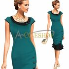 Womens Vintage Colorblock Cocktail Party Evening Bodycon Mermaid Midi Prom Dress