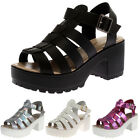 LADIES STRAPPY WOMENS PEEP TOE BLOCK HEEL SUMMER CHUNKY SANDALS SHOES SIZE 3-8