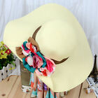Woman's Fashion Summer Beach Hats Wide Brim One Side With Flowers Hat Straw H101