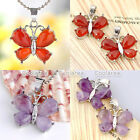 1pc Butterfly Amethyst Agate Gemstone Reiki Healing Pendant For Charms Necklace