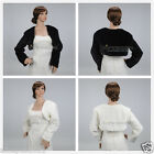 Ivory/Black Faux Fur Long Sleeve Wedding Wrap Coat Shrug Bolero Bridal Shawl S-L