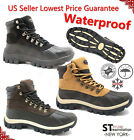 LM New Men's Winter Snow Work Boots Shoes Leather Lace Up Waterproof 2017