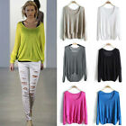 Fashion Casual Batwing Round Neck Knitted Stretch Jumper Loose Pullover Sweater