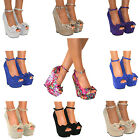 WOMENS PEEP TOE PLATFORM HIGH BLOCK HEELS COURT ANKLE STRAPPY SHOES PROM SIZE