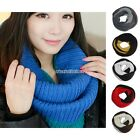 N98B Men Women Snood Infinity 2 Circle Cable Knit Cowl Neck Long Scarf Shawl