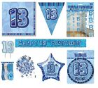 13th Birthday/Age 13 - BLUE PARTY ITEMS Decorations Tableware - Large Range