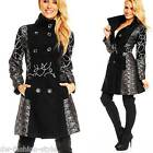 Donna Patchwork CAPPOTTO Cappotto Invernale Giacca Trench Giacca in Design