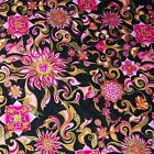Bright Pink & Metallic Gold on Black, Rococo Art Deco Cotton Fabric by Hoffman