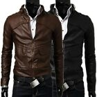 ❤Thanksgiving Gift ❤ Men's Cool PU Leather Jackets Motorcycle Outwear Coat Parka