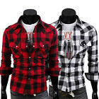 Black White Mens Beautiful Checks Plaid Slim Currents Dress Leisure Shirts Tops