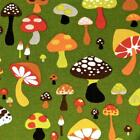 Magical Mushrooms by Alexander Henry, Cotton Fabric, Dill Pickle Background