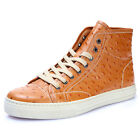 Casual Men REAL Leather Ostich Grain Ankle Boots Lace Up Round Toe Chukka Shoes