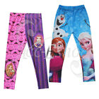 Girls Frozen Princess Anna Elsa Cartoon Leggings Kids Pants Trousers 4-8 Clothes