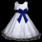 TU03 UkW 140916w272 White Blue Party Casual Flower Girls Dress 2,3,4,5,6-12y