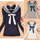 Sailor Style Long Sleeve Womens Striped Collar Bowtie T-shirt Tops Tee New 6866