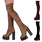 LADIES WINTER WOMENS BLOCK HEEL PLATFORM CLEATED SOLE KNEE HIGH BOOTS SIZE 3-8