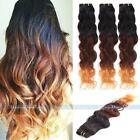 """14-28"""" Three Tone Ombre Remy Natural Wave Human Hair Extensions Weaving Weft 50g"""