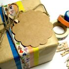 Kraft brown flower style gift swing tags birthday wedding favour bomboniere DIY