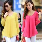 Korean Fashion Womens Chiffon Long Sleeve Loose Tops Blouse Casual T-shirt ENH