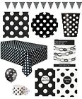 MIDNIGHT BLACK POLKA DOT Partyware Range (SPOTS)Tableware Balloons & Decorations