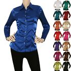 Внешний вид - IRON PUPPY Women Satin Charmeuse L/Slv Button Down Solid Collar Shirts Blouse