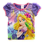 Princess Rapunzel Kids Girls Purple Cap Sleeve Tee Tops F4121 Size 4 6 8 10 NEW