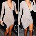 Celeb Sexy Women Long Sleeve V-Neck Cleavage Club Cocktail Evening Bandage Dress