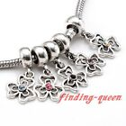 5pc Crystal Hollow Clover Dangle Flower Floral European Beads Fit Charm Bracelet