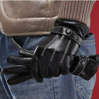 Fashion Winter Warm Faux Leather Cashmere Lining Mens Motor Cycling Gloves New Q