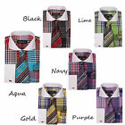 New Men's Dress Shirt Check/Plaid Design French Cuff Spread Collar Tie&Hanky
