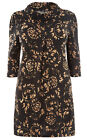SAMYA Cowl Neck Knitted Button Detail Tunic Dress BLACK / GOLD Sizes 16 to 24