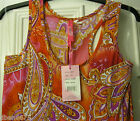 New Ladies Reds & Oranges PAISLEY Print Racer Back MAXI Dress- Size M & XL