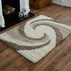 NEW LARGE-MEDIUM-SMALL IVORY BEIGE SWIRL DESIGN 5CM HIGH THICK SHAGGY RUG CARPET