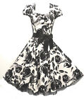 Stunning black and white WWII 1940's style roses tea/swing dress 8-18